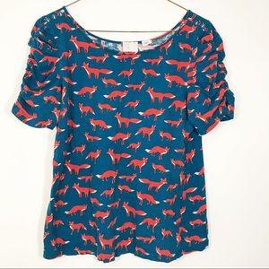 Anthropologie Postmark Blue Shirt + Fox Print
